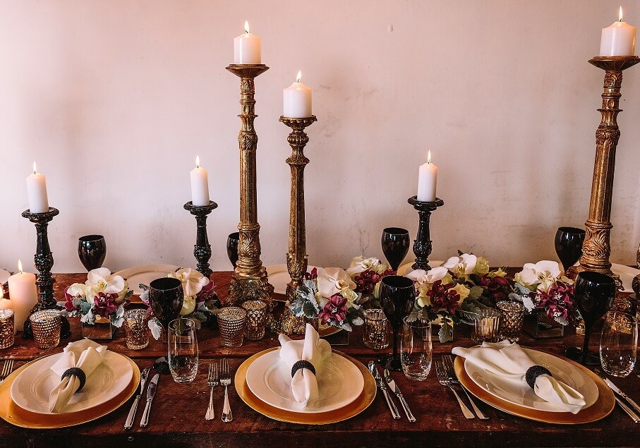 Gold and marsala centrepiece
