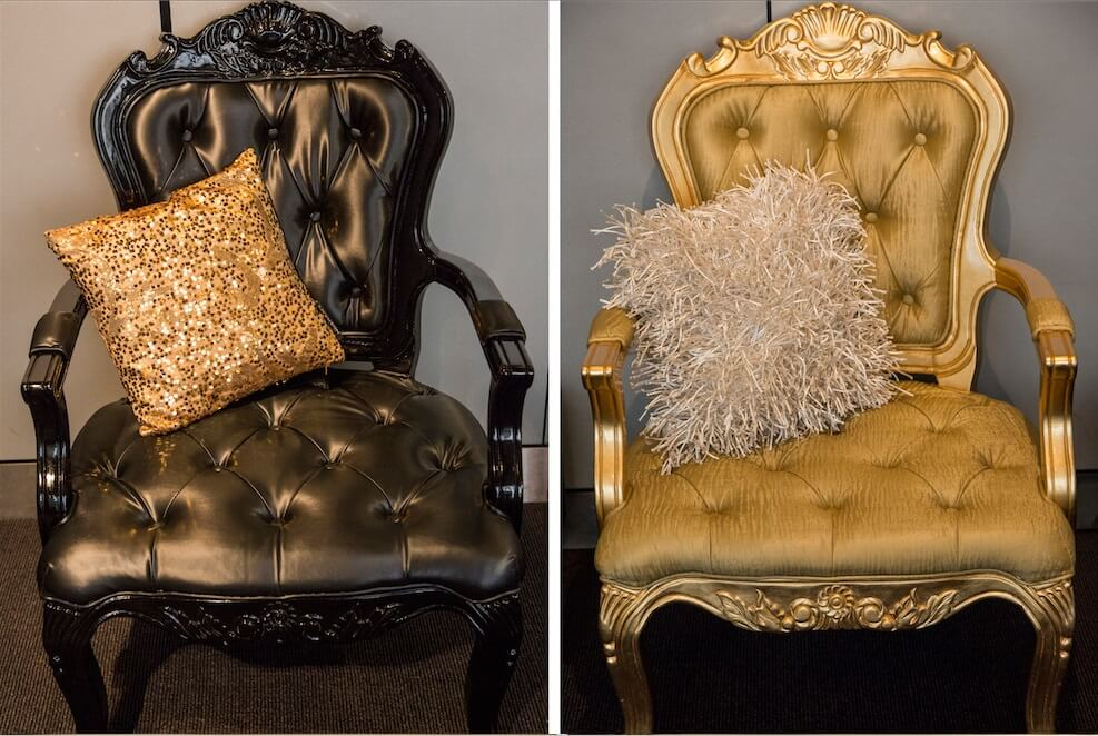 Masquerade Gold and Black Armchairs