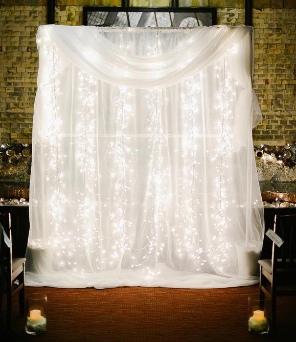 Wedding chiffon draping with fairylights