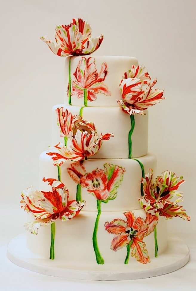 Handpainted wedding cake with lilies