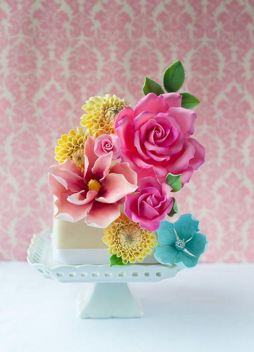 Colourful bursting blooms cake