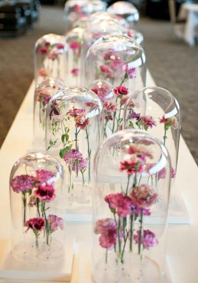 Floral cloche perspex centrepiece