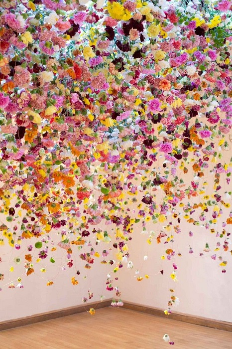 colourful hanging floral wedding installation