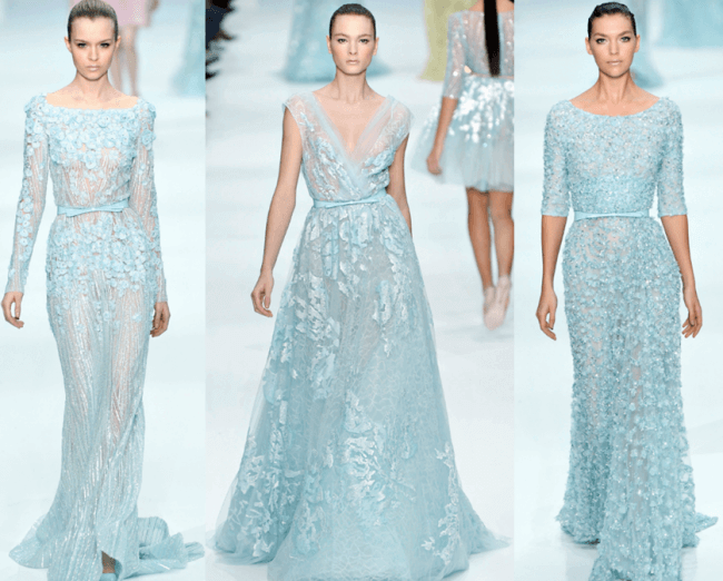 Icy blue couture wedding dresses