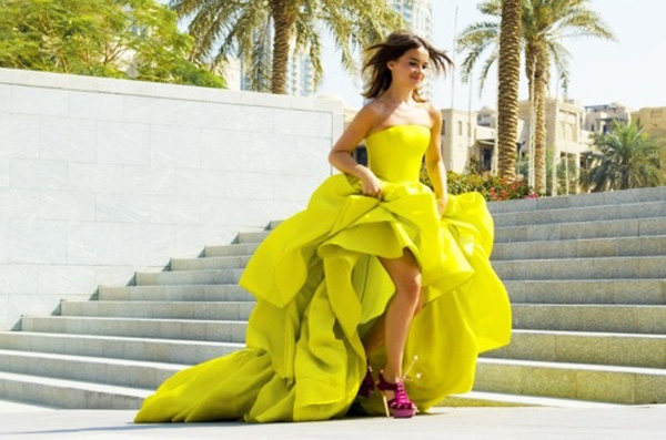 Chartreuse wedding dress with a full layered skirt
