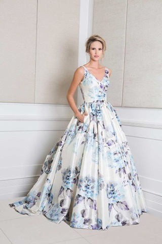 Floral ball gown style wedding dress with blue and purple accents