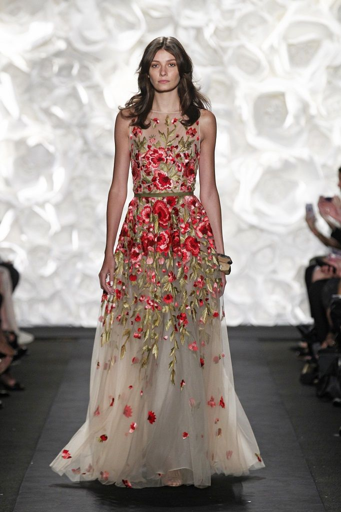Sheer a-line style wedding dress with floral embellishments from SS15 Fashion Week