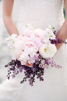 Lavener and pink bridal boquet