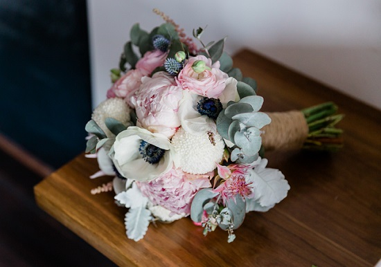 bouquet of pastel wedding flowers