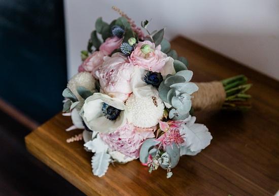 bouquet of pastel wedding flowers