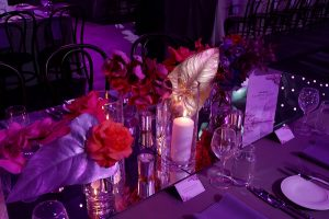 wedding function with purple backlighting