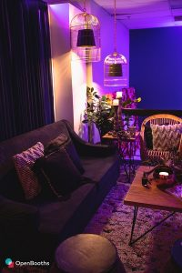 Tribale elegance with purple back lit room