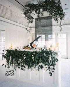 Martha Stewart white bar with foilage