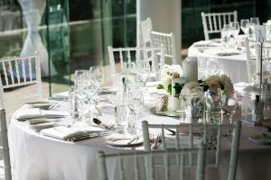 White tiffany chairs and table