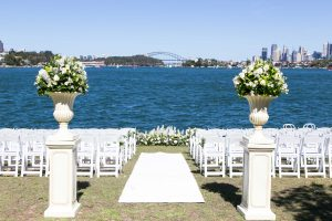wedding aisle looking out over the sydney harbour