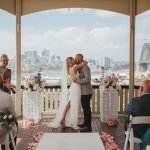 Sydney harbour wedding kiss