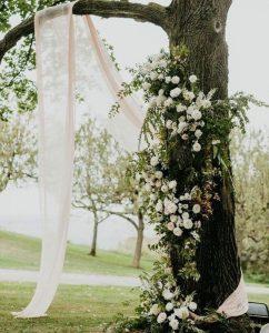 white wedding florals